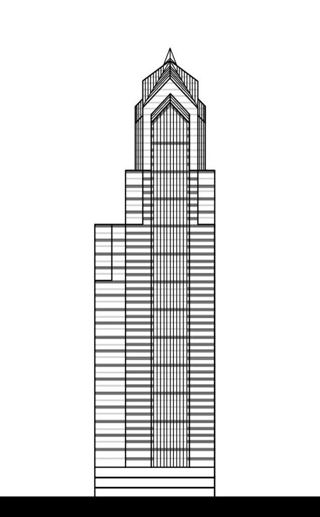 Two Liberty Place final design. Elevation by Thomas Koloski