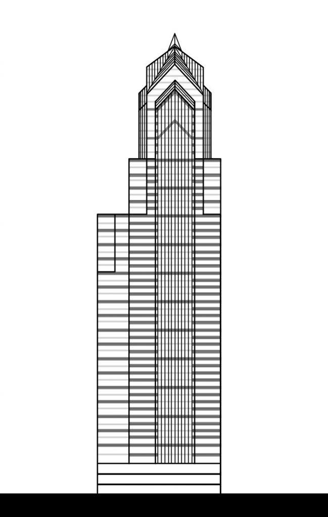 Two Liberty Place with additional stone cladding. Elevation by Thomas Koloski