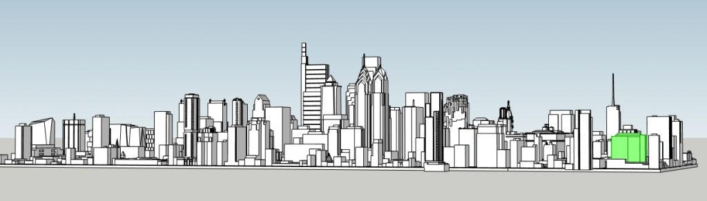 12 + Sansom in the Philadelphia skyline. Model by Thomas Koloski