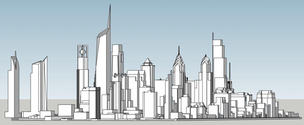 Philadelphia skyline with unbuilt proposals looking east. Image and models by Thomas Koloski
