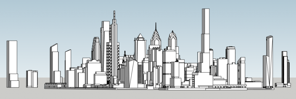 Schuylkill Yards supertall with the Philadelphia skyline. Photo by Thomas Koloski
