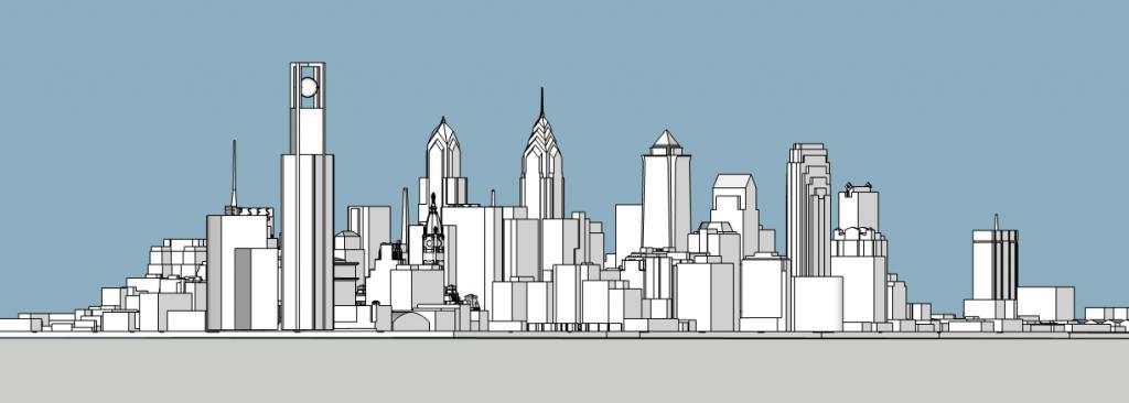 Philadelphia World Trade Center looking southwest. Model by Thomas Koloski