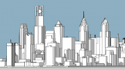 Philadelphia World Trade Center looking northeast. Model by Thomas Koloski