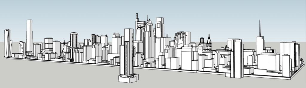 12 + Sansom (under Loews Hotel) and the Philadelphia skyline. Model by Thomas Koloski