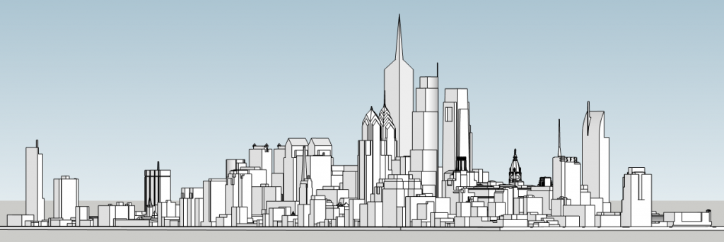 Philadelphia skyline with unbuilt proposals looking northwest. Image and models by Thomas Koloski