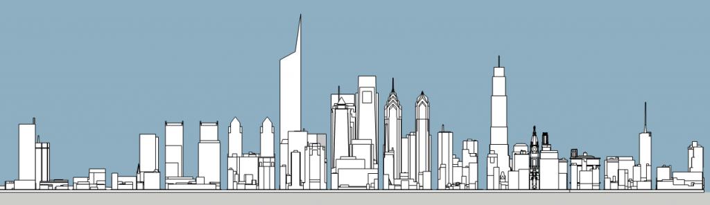 Philadelphia skyline aerial with unbuilt proposals south elevation. Image and models by Thomas Koloski