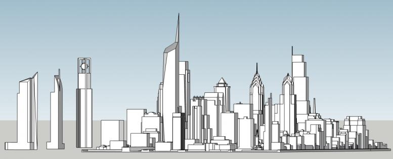 Philadelphia skyline with unbuilt proposals. Image and models by Thomas Koloski