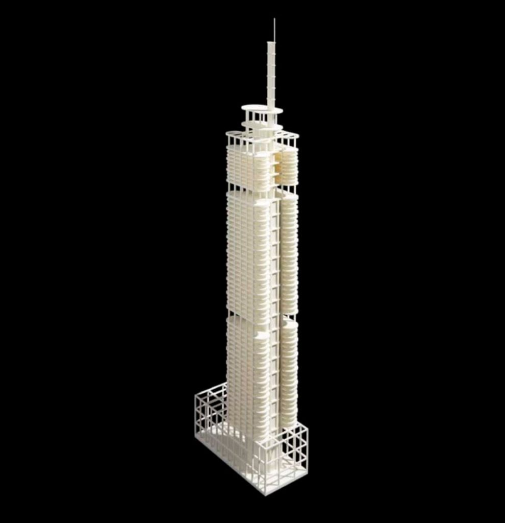Early concept model of the Comcast Technology Center with a lantern. Image from Foster and Partners