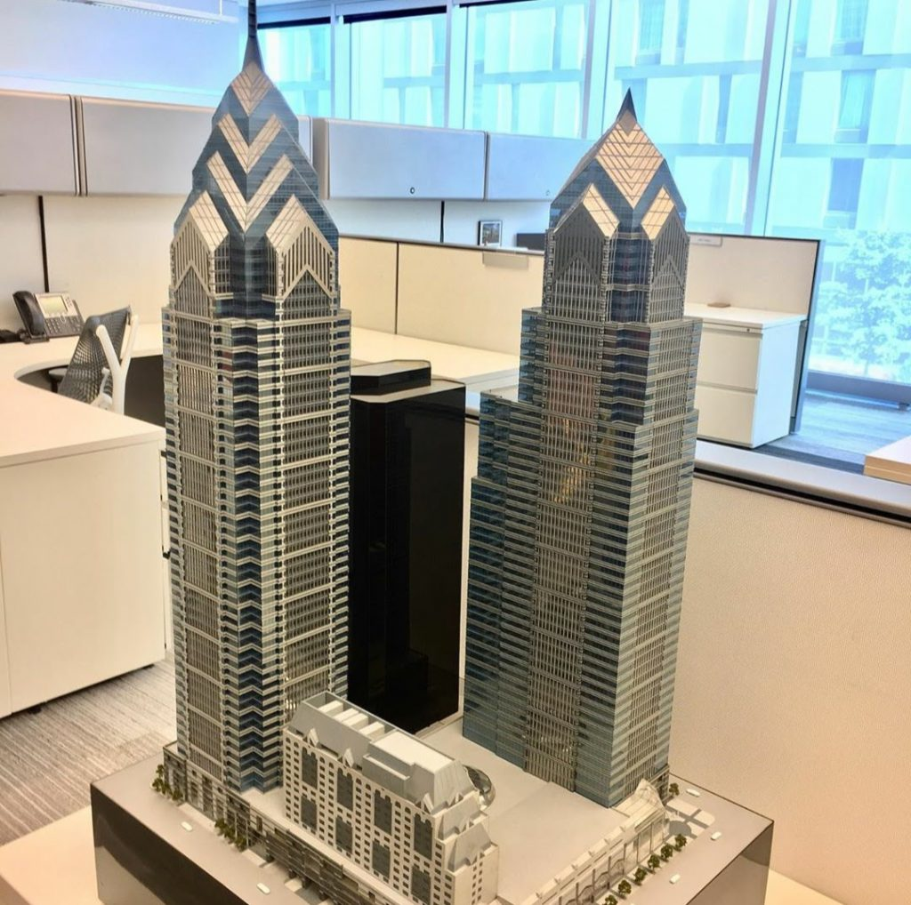 One and Two Liberty Place architectural model. Photo by Frank Whittock & Associates