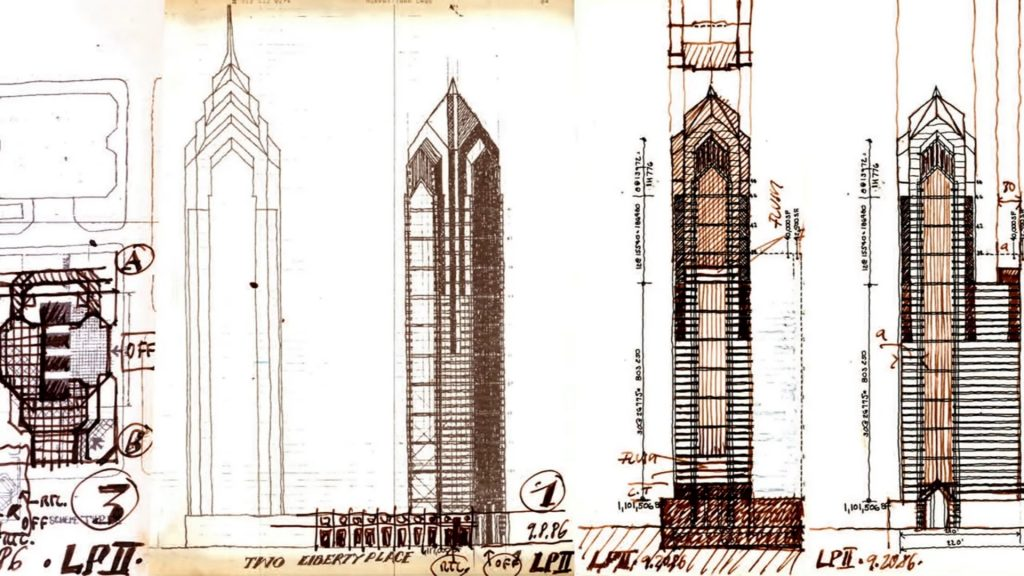Two Liberty Place sketches 09/08 and 9/20 via Helmut Jahn