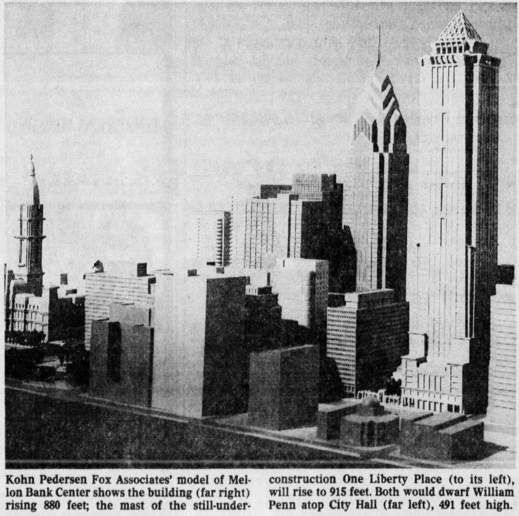 880 foot Mellon Bank Center. Photo via The Philadelphia Inquirer