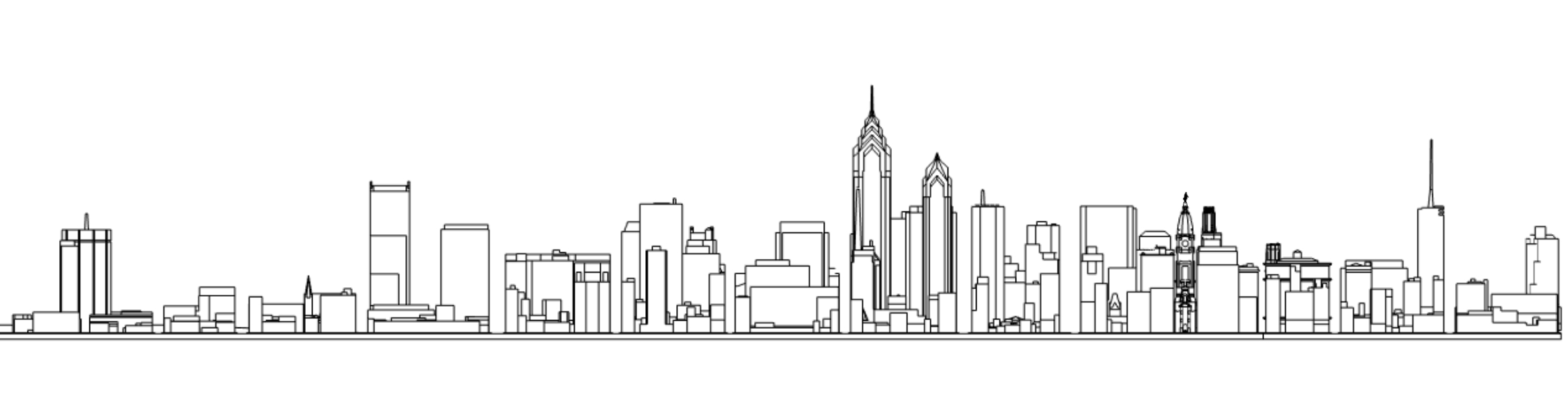 Liberty Place unfinished design with the Philadelphia skyline, south elevation. Models and image by Thomas Koloski