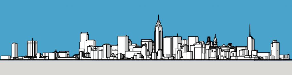 Philadelphia skyline 1987 looking northwest. Models and image by Thomas Koloski