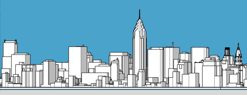 Philadelphia skyline 1987. Models and image by Thomas Koloski