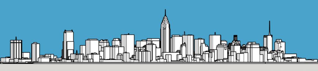Philadelphia skyline 1987 looking northeast. Models and image by Thomas Koloski