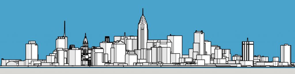 Philadelphia skyline 1987 from Belmont Plateau. Models and image by Thomas Koloski