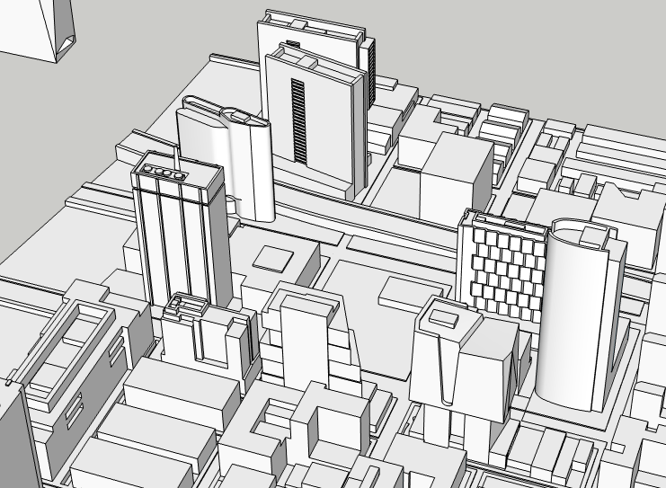 Center City West proposals and 2300-2324 Market Street looking north. Image and models by Thomas Koloski