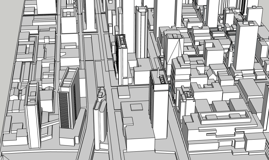 Center City West proposals and 2300-2324 Market Street looking east. Image and models by Thomas Koloski