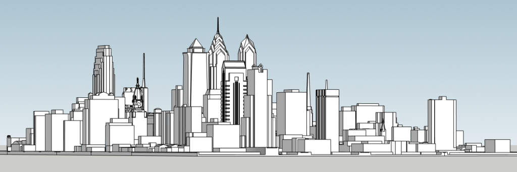 Philadelphia skyline 1990 with City Hall. Image and models by Thomas Koloski