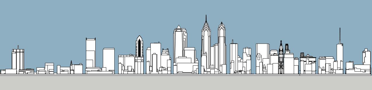 Philadelphia skyline 1990 south elevation. Image and models by Thomas Koloski