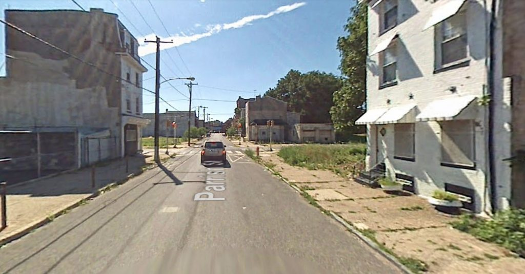 Parrish Street, with 1436 Parrish Street on the left. Looking west. July 2007. Credit: Google