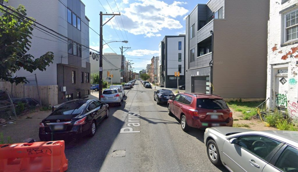 Parrish Street, with 1436 Parrish Street on the left. Looking west. August 2019. Credit: Google
