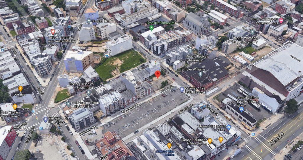 1424 Parrish Street. Looking northwest. Credit: Google