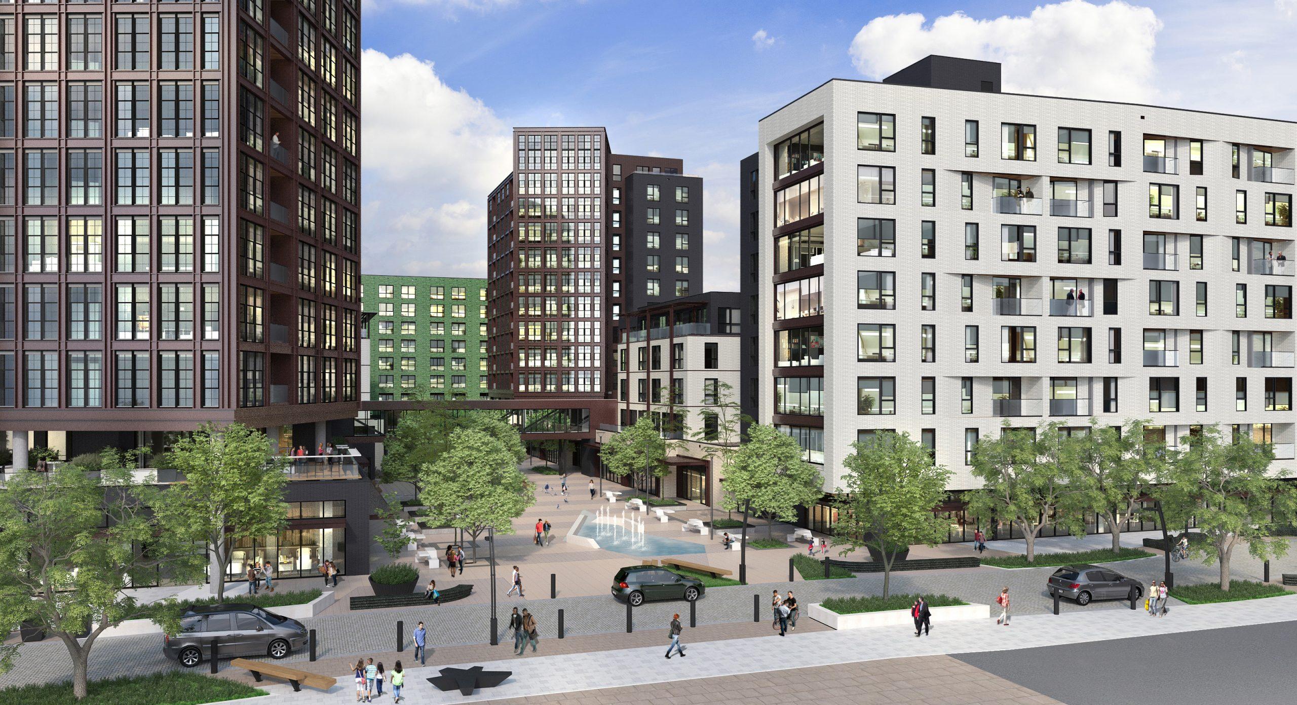 Piazza Terminal rendering looking northeast from Germantown Avenue. Image via Post Brothers