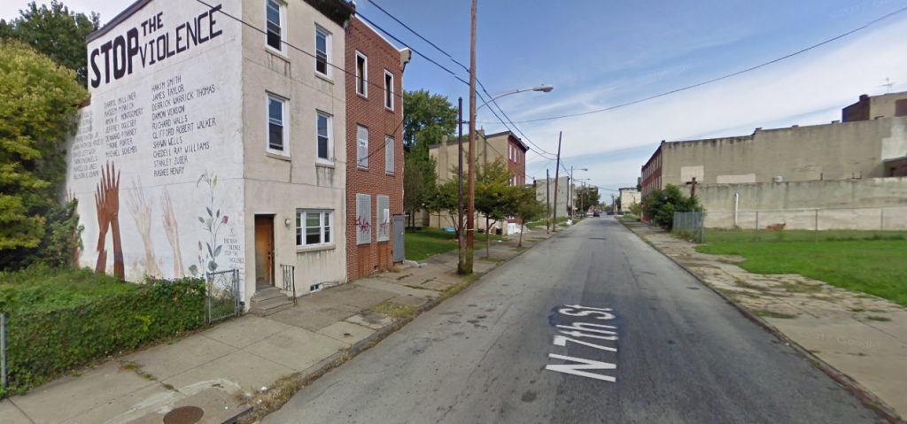North 7th Street, with a now-removed mural on the left and 2209 North 7th Street on the right. Looking northwest. September 2009. Credit: Google
