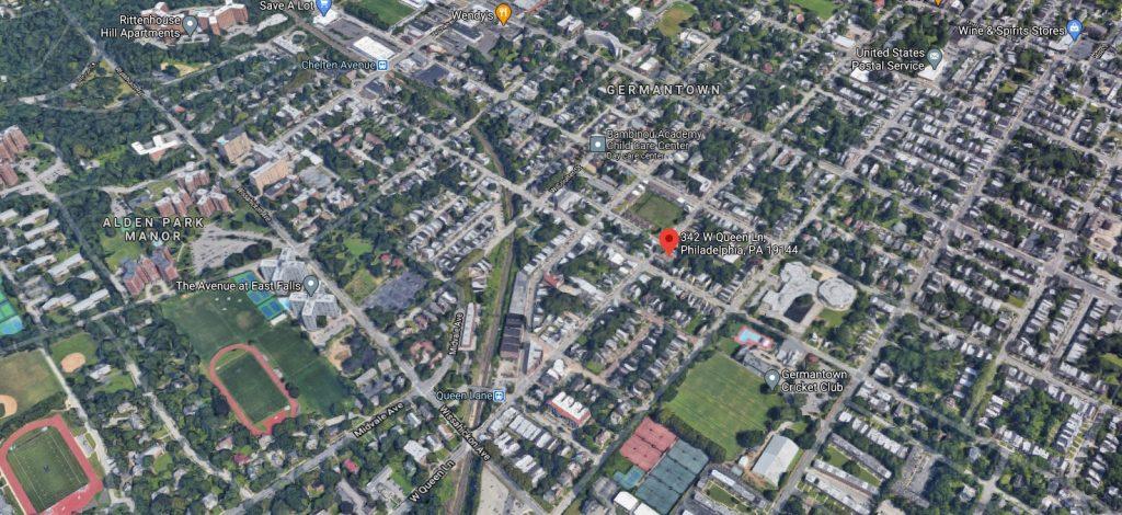 342 West Queen Lane. Looking north. Credit: Google