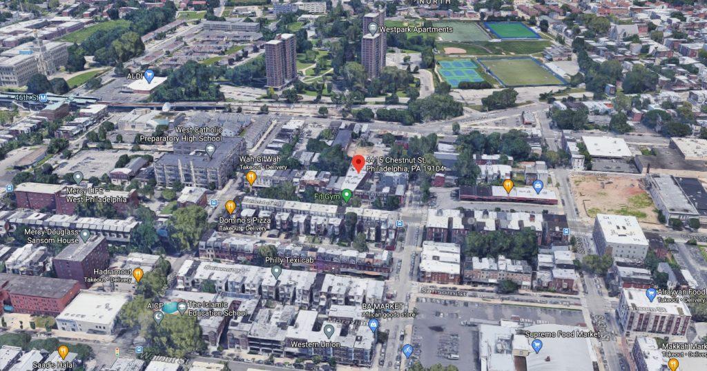 4415 Chestnut Street. Looking north. Credit: Google
