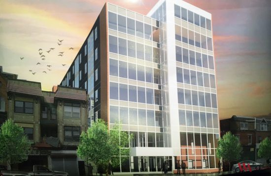 The original proposal for 4415 Chestnut Street. Looking northeast. Credit: Wulff Architects