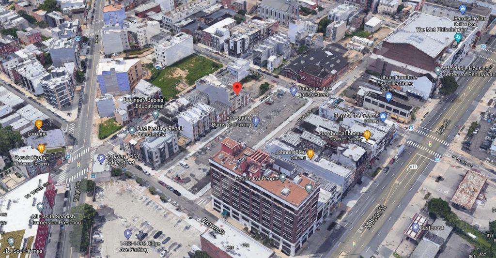 830 Burns Street. Looking northwest. Credit: Google