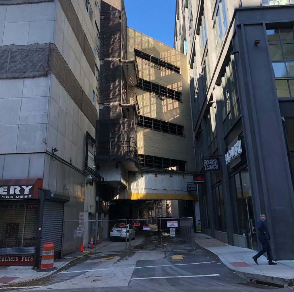 The former Chestnut Street Garage at the site of East Market Phase 3. Credit: Google via CDR