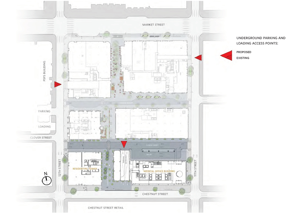 Site plan and underground parking entrances at East Market. Credit: National Real Estate Development / Ennead Architects / Morris Adjmi / BLTa via CDR