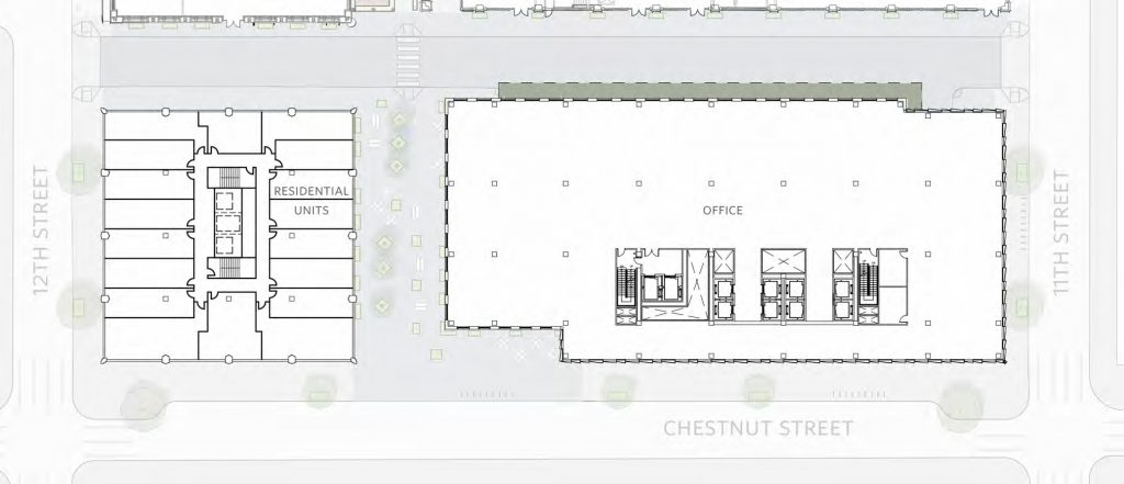 East Market Phase 3. Typical floor (lower). Credit: National Real Estate Development / Ennead Architects / Morris Adjmi / BLTa via CDR
