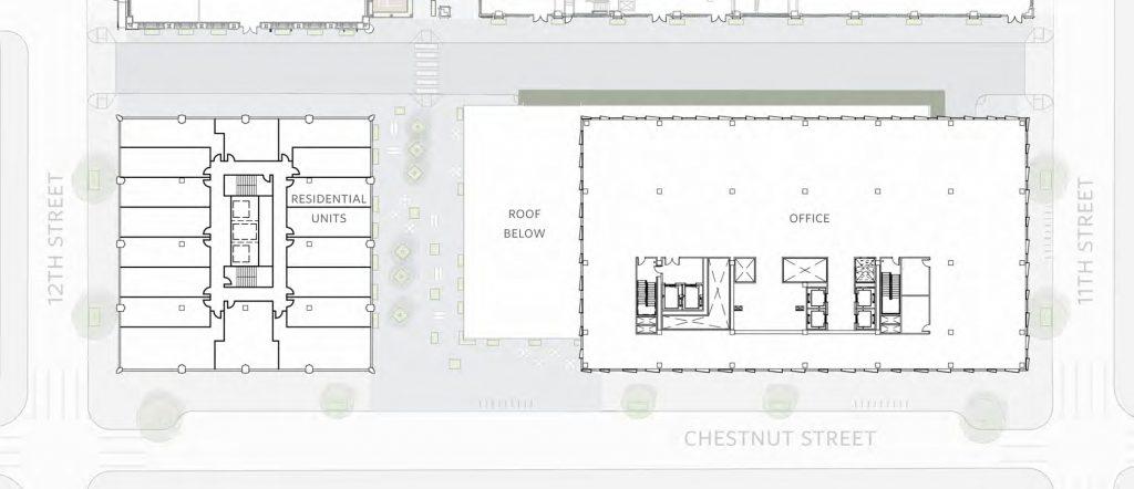 East Market Phase 3. Typical floor (upper). Credit: National Real Estate Development / Ennead Architects / Morris Adjmi / BLTa via CDR