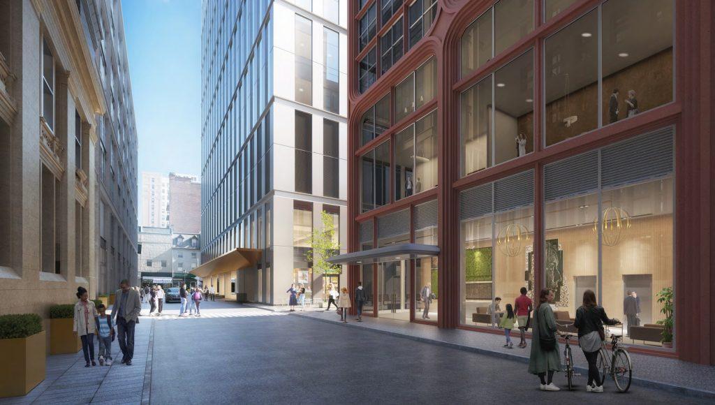 East Market Phase 3 as seen along Clover Street. Credit: National Real Estate Development / Ennead Architects / Morris Adjmi / BLTa via CDR