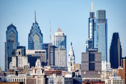 PNB Building (left) in the Philadelphia skyline. Photo by Thomas Koloski