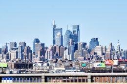 The Laurel Rittenhouse Square in the Philadelphia skyline from Walt Whitman Bridge. Photo by Thomas Koloski