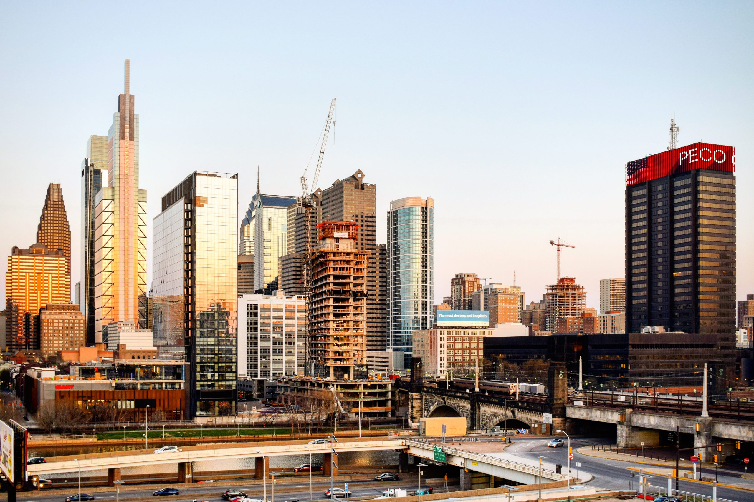 Riverwalk south and north in the Philadelphia skyline from a garage looking east. Photo by Thomas Koloski