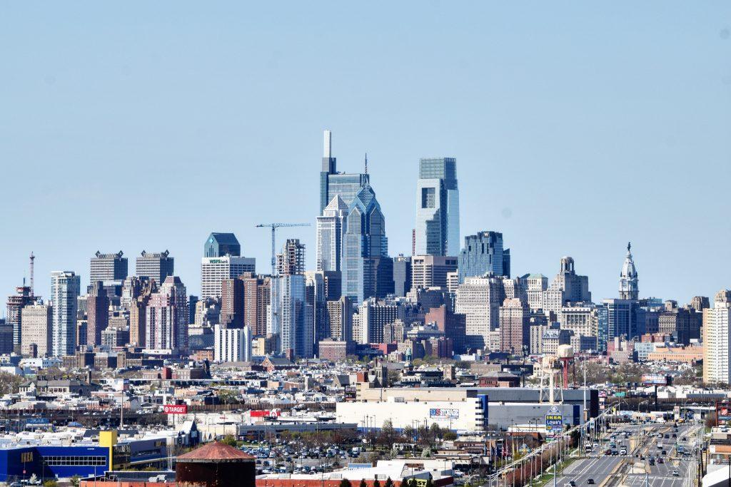 Philadelphia skyline from the Walt Whitman Bridge looking northwest. Photo by Thomas Koloski