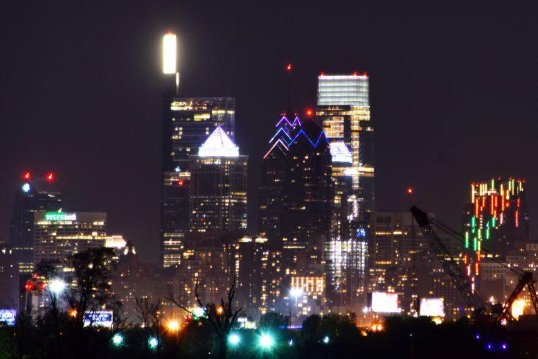 One Liberty Place and W/Element Hotel lighting. Photo by Thomas Koloski