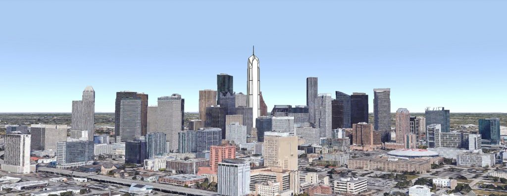 Bank of the Southwest Tower looking north. Original image by Google Earth, model and edit by Thomas Koloski