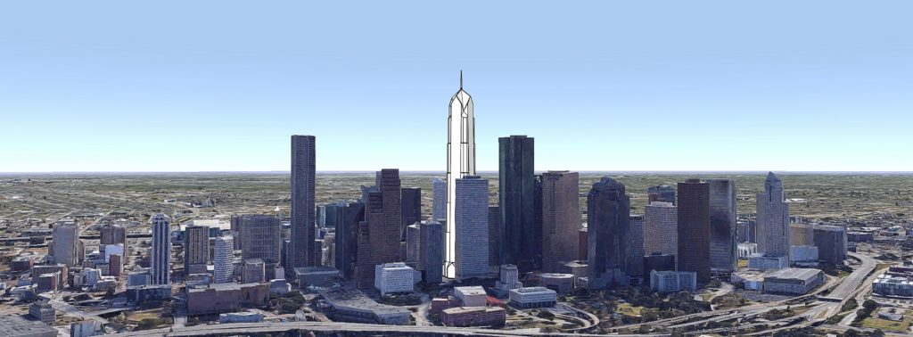 Bank of the Southwest Tower looking southeast. Original image by Google Earth, model and edit by Thomas Koloski