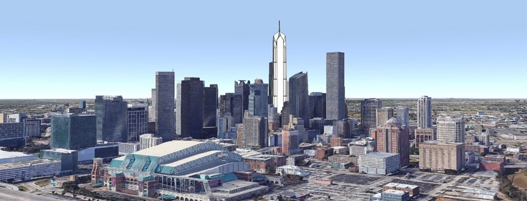 Bank of the Southwest Tower looking west. Original image by Google Earth, model and edit by Thomas Koloski