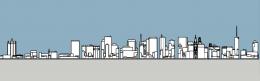 Philadelphia skyline 1985 south elevation. Image and models by Thomas Koloski