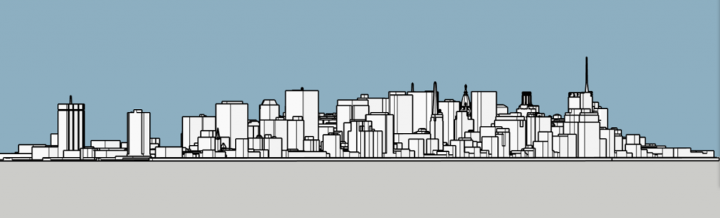 Philadelphia skyline 1985 looking northeast. Image and models by Thomas Koloski
