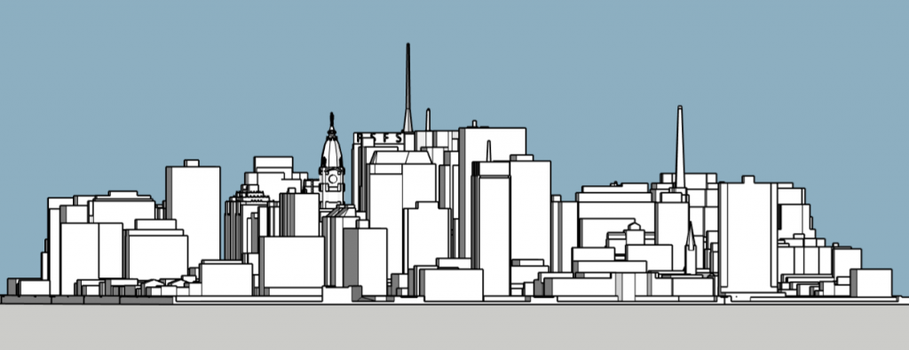 Philadelphia skyline 1985 looking east. Image and models by Thomas Koloski