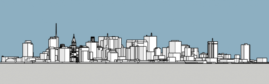 Philadelphia skyline 1985 looking southeast. Image and models by Thomas Koloski